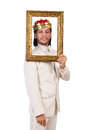 King with picture frame on white Royalty Free Stock Image