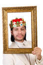 King with picture frame on white Royalty Free Stock Photos