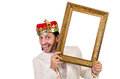 King with picture frame on white Royalty Free Stock Photography