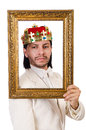 King with picture frame on white Stock Images