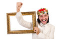 King with picture frame on white Stock Photos