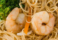 King Prawn and Rice Noodles Royalty Free Stock Photo