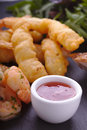 King prawn starter slate plate dressed oil herbs deep fried salad chilli dip close up Royalty Free Stock Image