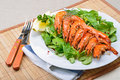 King prawns on lamb's lettuce Stock Images