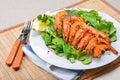 King prawns on lamb's lettuce Stock Images