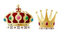 King queen crown set against white background Royalty Free Stock Photo
