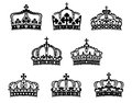 King and queen heraldic crowns set for heraldry luxury embellishment design Stock Image
