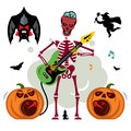 King of Rock. Skeleton guitar player. Vector Cartoon Illustration. Royalty Free Stock Photo