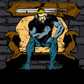 King sitting on his throne comic book retro style illustration of a Royalty Free Stock Images