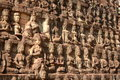 King terrace in angkor thom wall stone of Stock Image