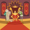 King on the throne and his retinue. Cartoon characters set Royalty Free Stock Photo