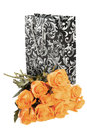 Kings day orange roses with black silver decorative bag isolated over white Stock Photo