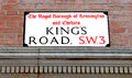 Kings road street sign in the famous chelsea Royalty Free Stock Photos