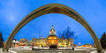Kingston city hall night christmas evening view of and the arch at in ontario canada Stock Photo