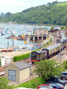 Kingswear devon the train arriveing at from paignton running at the side of the river dart at england uk Royalty Free Stock Photos