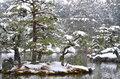 Kinkakuji's Pond in Kyoto, Japan in Winter Royalty Free Stock Photo