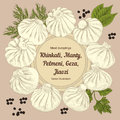 Kinkali, Nikuman, manti, dumplings. Geza, Jiaozi. Pelmeni. Meat dumplings. Food.