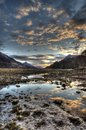 Kinlochleven sunset in the highlands of scotland a at looking toward pap glencoe Royalty Free Stock Photo