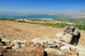 Kinneret lake view of from the golan heights israel Royalty Free Stock Photo