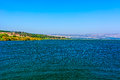Kinneret view from galilee mountains to galilee sea Royalty Free Stock Photo