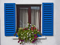 Kinsale window blue shutters Stock Images