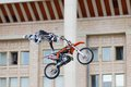 Kirill kuznetsov russia moscow july motofristayler at the sports festival moscow city games in the program moto freestyle fmx in Stock Photography