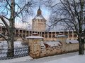 Kirillo-Belozersky monastery in winter, Moscow Ferapontov tower and fortress wall, Russia Royalty Free Stock Photo