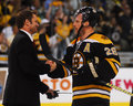 Kirk muller and mark recchi shake hands bruins forward canadiens coach greet each other after the canadiens are eliminated Royalty Free Stock Image