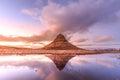 Kirkjufell mountain reflection in beautiful sunrise Royalty Free Stock Photo