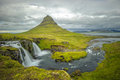 Kirkjufellsfoss waterfall and kirkjufell mountain iceland europe Stock Photography