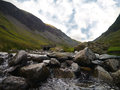 Kirkstone pass cumbria a shot of a stream near the slate mines the lake district Stock Images