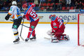 Kiselevich bogdan defend the gate moscow december on game cska vs severstal on russian khl premier hockey league championship on Royalty Free Stock Photography