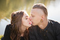 Kiss anticipation close up of young male kissing female Royalty Free Stock Photo
