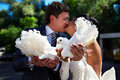 Kiss the bride and groom with the pigeons Royalty Free Stock Photos