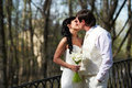 Kiss bride and groom in walking Stock Image