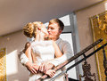 Kiss the bride and groom Royalty Free Stock Photo