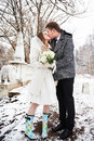 Kiss bride and groom in winter landscape on wedding day Stock Photos