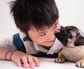 A kiss from a cute puppy Stock Photo