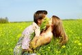 Kiss in the field Royalty Free Stock Image