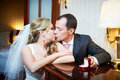 Kiss happy bride and groom 图库摄影
