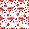Kiss lips seamless pattern lover Valentine colorful love kiss red pink lip and strawberry pattern