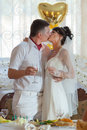 Kiss of married couple Royalty Free Stock Photo