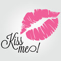 Kiss me abstract pink and text on white background Stock Photos