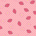 Kiss me. Vector seamless pattern, abstract background made of lips and flowers Royalty Free Stock Photo