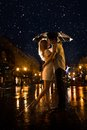 Kiss in the moonlight raster man and girl rain photo contains glare from lights Stock Photos