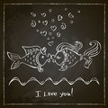 Kiss Of Two Fishes Drawing
