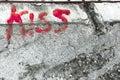 Kiss on wall Royalty Free Stock Photo