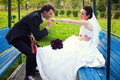 Kissing bride hand groom in a swing at their wedding day Stock Photos
