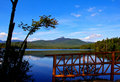 The Kissing Bridge on Lake Chocorua Royalty Free Stock Photo