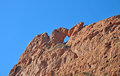 Kissing camels at garden of the gods colorado naturally carved out eroding limestone two loom above ground Royalty Free Stock Images